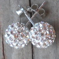925 Sterling Silver Swarovski Clear Crystal Rhinestone Earstuds