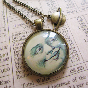 Vintage Man In The Moon Steampunk Cabochon Pendant by evelynadams