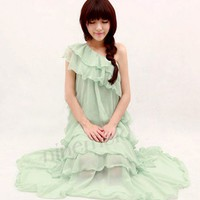 Mint Green Fairy Dress. One Shoulder Layered Chiffon Cocktail Dress