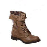 New! Military Combat Boot Fold-over Cuff + Zipper on the Back Multiple Color