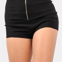 Zip Front Mini Shorts - Black