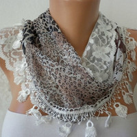 Print Scarf    Headband Necklace Cowl with Lace Edge  by fatwoman/88859586