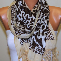 Leopard  Scarf   Cotton Scarf Headband Necklace Cowl by fatwoman/94034219