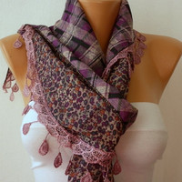 Women  Scarf  Headband Necklace Cowl with Lace  by fatwoman-tz17