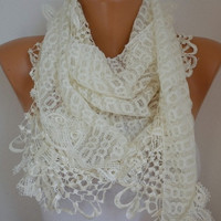 Light Yellow Scarf    Headband Necklace Cowl with Lace by fatwoman/93869261