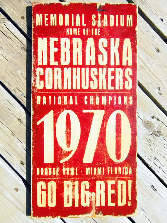 Vintage Inspired Nebraska Cornhusker Football by 13pumpkins