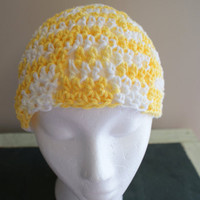 Crochet Summer Hat. Womens Yellow Cotton Skull Cap, Spring Hat, Head covering, Sun Hat, Gardening Hat, Beach hat, Easter Hat