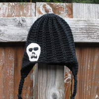 Solid Black Crochet Earflap Hat with Skull Applique, newborn - adults, MADE TO ORDER.