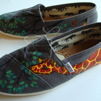 my original giraffe desginhand painted on TOMS by ArtfulSoles