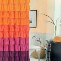 Dainty Home Flamenco Tiered Fabric Shower Curtain, 72 by 72-Inch, Orange/Mahagony: Home & Kitchen