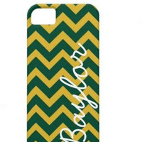 Baylor Green and Gold Chevron Phone Case