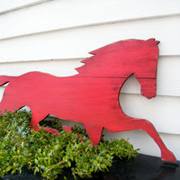 Wooden Horse Sign Barnwood Red Distressed Large by SlippinSouthern