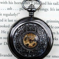 Dark Skeleton Wind-Up Pocket Watch
