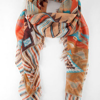 Natalie Aztec Print Scarf in Turquoise