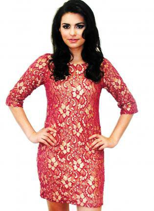 Red Cocktail Dress - Plus Size Red Lace 3/4 | UsTrendy