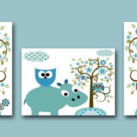 "Art for Children Kids Wall Art Baby Nursery Art Baby Boy Nursery print set of 3 11""x14"" Baby Boy Wall Art owl hippopotamus elephant blue"