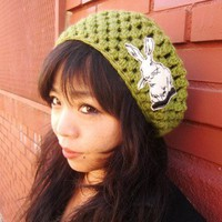 Avocado Slouchy Beanie Beret Hat with Cream Bunny Rabbit Patch