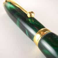 Handcrafted Ink Pen Hand Turned Emerald Swirl by MikesPenTurningZ