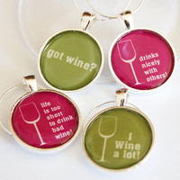 Wine Charms, Wine Glass Charms, Got Wine, I Wine A Lot, silver plate, barware, entertaining, table setting (2248)