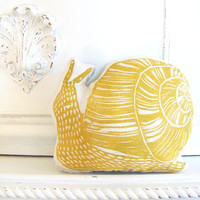 Plush Yellow Snail Pillow. Woodblock Printed. Customizable Colors. Made to Order.