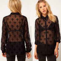 Cross Perspective long-sleeved blouse