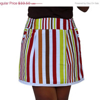 ON SALE Spring White Mini Skirt in Stripe Colorful Bright Chartreuse, Honey Gold, Brown and Red with 2 Pockets