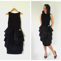 Vintage Wiggle Dress Black w/ Ruffles Drop Waist by ItchforKitsch
