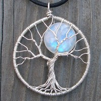 Moon Tree Sterling Silver and Moonstone Pendant  by ethora on Etsy