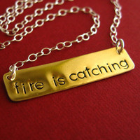 Hunger Games Necklace Fire is Catching by SpiffingJewelry