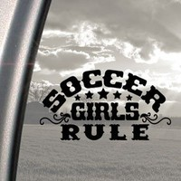 Amazon.com: Soccer Girls Rule Black Decal Car Truck Window Sticker: Arts, Crafts & Sewing