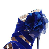 Qupid Dazzling48 Royal Blue Strappy Velvet Side Flower Heels and Shop Shoes at MakeMeChic.com