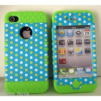 Amazon.com: iPhone 4 4S Case Heavy Duty ishield Hybrid Snap On Polka Dots on Light Blue: Everything Else