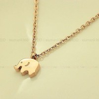 18K Rose Gold Cute Elephant Necklace