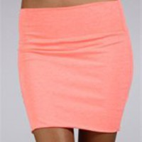 Neon Coral Body Con Mini Skirt