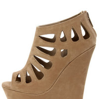 Dollhouse Caged Nude Cutout Peep Toe Platform Wedge Booties