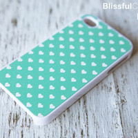 iphone case  mint polka hearts by BlissfulCASE on Etsy
