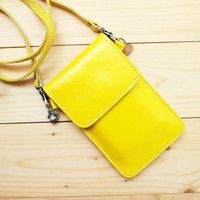 IPhone Case, Leather Bag With Strap, Yellow