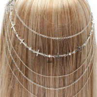 NEW WOMENS SILVER SIDEWAYS CROSS HAIR CHAIN HEAD CHAIN PIECE METAL HAIR JEWELRY