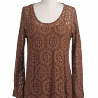 Mocha Latte Crochet Top from Shopbellastyle