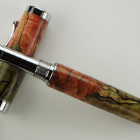 Handcrafted Wooden Pen Rollerball Pen Spalted Maple Dyed Red and Green Chrome Hardware 405S