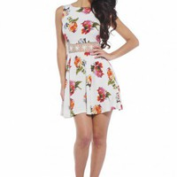 Floral Cream Crochet Waist Skater Dress  - AX Paris