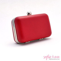 The Vivien Minaudiere in Lipstick leather by SophieAndAva on Etsy