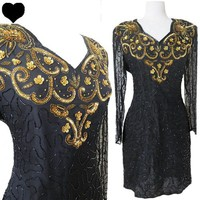 Vintage 80s Black GOLD Sequin BEADED Cocktail Party Dress L XL Long Sleeves Silk