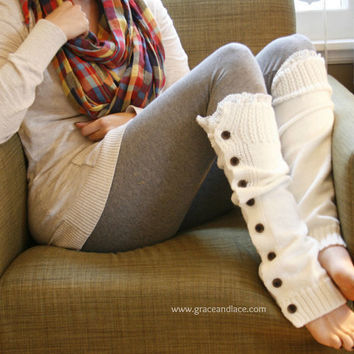 The Miss Molly  offwhite Slouchy Button Down LEG by GraceandLaceCo