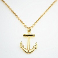 Fashion Golden Anchor Necklace