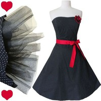 POLKA DOT Pinup Strapless Black Rockabilly PROM Party Dress M L White RED Swing