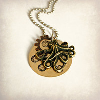 Steampunk Octopus Necklace - Brass with Stamped Gear Design and Small Bronze Finish Gear, 1 inch, Ready to Ship
