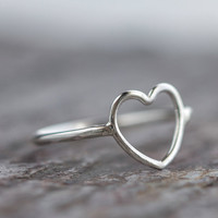 Heart Ring Sterling Silver Open Outline by ThirtySixTen on Etsy