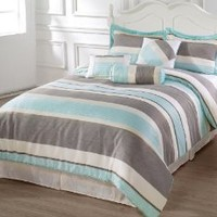 CozyBeddings 7pc Comforter Set Blue, Beige, Gray Luxury Stripe Bed-In-A-Bag Queen Size Bedding