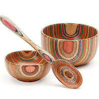 The Rainbow Wood Spoon & Bowls